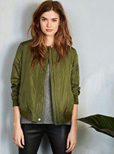 3f7e725ac55 Eliot padded olive green bomber jacket, with zip fastening. Green Bomber  Jacket, Parka