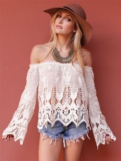 West Coast Wardrobe West Coast Wardrobe Out West Crochet Lace Off the Shoulder Top in Natural