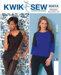 Misses Tops Kwik Sew Sewing Pattern No. 4014. Size XS-XL.