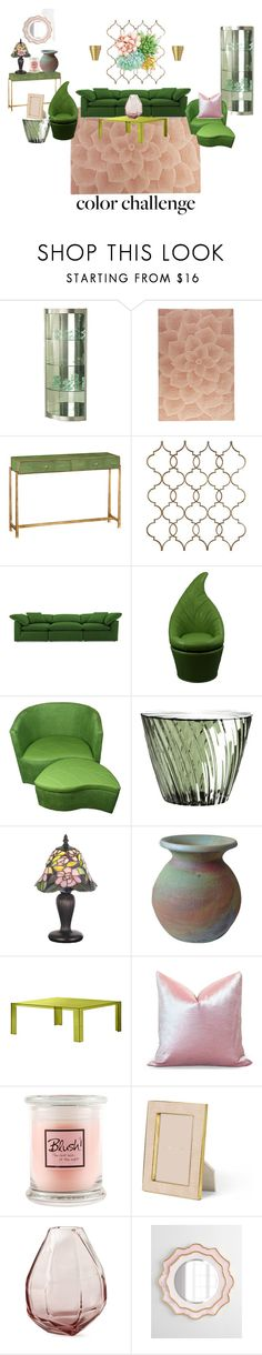 """""""Green & Blush Home"""" by clothingcollector1 ❤ liked on Polyvore featuring interior, interiors, interior design, home, home decor, interior decorating, Somette, Pier 1 Imports, Jonathan Charles Fine Furniture and Home Decorators Collection"""
