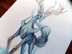 Pokemon X ~ sketched fan art of the X-version's exclusive legendary, Xerneas. (I CAUGHT IT! >:D)