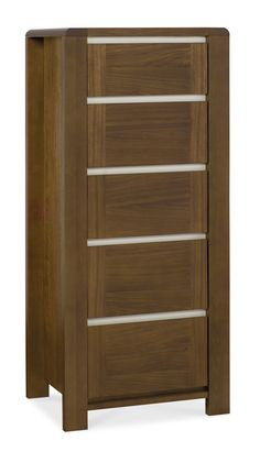 Ideal for slim spaces, Casa Walnut 5 Drawer Chest