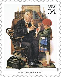 On February 3, 1894, iconic illustrator Norman Rockwell was born. Best known for his classic images for the covers of the Saturday Evening Post, Rockwell had a gift for displaying scenes of many aspects of American life.  This stamp was issued in 2001 as part of the Great American Illustrators pane.