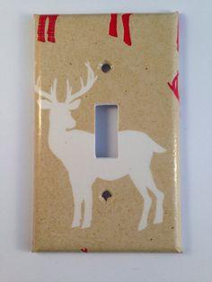 White Deer Light Switch Cover / Deer Nursery by COUTURELIGHTPLATES Deer nursery, deer nursery ideas , deer diy, deer home decor , rustic deer decor , rustic deer decor