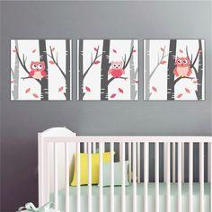 Παιδικοί πίνακες σε καμβά Κουκουβάγιες στο δάσος ροζ Cribs, Furniture, Home Decor, Cots, Decoration Home, Bassinet, Room Decor, Baby Beds, Home Furniture
