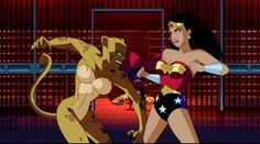 Cheetah vs Wonder Woman Justice League Animated, Amazon Queen, Daughter Of Zeus, Bruce Timm, Clay Figures, Dc Heroes, Archetypes, Cheetah, Family Guy