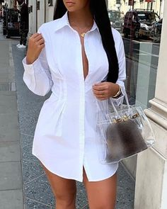Style:Fashion Pattern Type:Solid Material:Polyester Neckline:Turn-down Collar Sleeve Style:Long Sleeve Length:Mini Occasion:Casual Package Shirt Dress Note: There might be difference according to manual measurement. White Outfits, Classy Outfits, Stylish Outfits, Fall Fashion Outfits, Fashion Dresses, Fashion Edgy, Fashion Spring, Classy Dress, Skirt Outfits