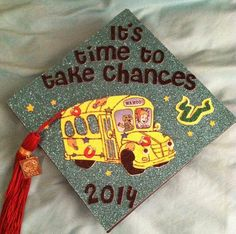 Mortar board with The Magic School Bus.