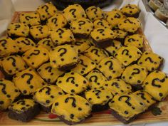 Brownies decorated as Super Mario Question Blocks. I, my sister, my boyfriend, and a bridesmaid made and decorated these for the cookie table at my sister's wedding reception!