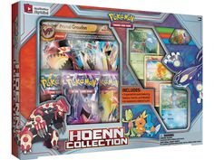 Hoenn Collection Box: Includes: • 1 of 2 foil oversize cards featuring Primal Groudon-EX or Primal Kyogre-EX • 3 special foil cards featuring Treecko, Torchic, and Mudkip, with all-new art • An all-new collector's pin featuring Treecko, Torchic, and Mudkip • 3 Pokémon TCG booster packs • 1 bonus code card for the Pokémon Trading Card Game Online