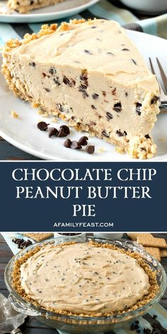 Our Chocolate Chip Peanut Butter Pie has a rich and creamy peanut butter filling with mini chocolate chips throughout. So good! Chocolate Chip Cookie Dough Pie Recipe, Peanut Butter Chocolate Pie, Chocolate Chip Pie, Creamy Peanut Butter, Desserts With Chocolate Pudding, Peanut Butter Dessert Recipes, Chocolate Food, Summer Dessert Recipes, Peanut Butter Filling