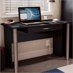 South Shore City Life Wood Computer Desk in Black Finish - 7270710