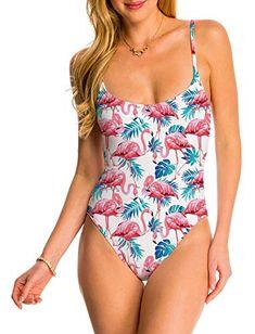 2b17102e1c1 #Women One Piece #Swimsuit White Tropical Hawaiian Flamingo Weeds  Adjustable Spaghetti Strap Swimwear Monokini