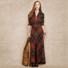 Ralph Lauren Plaid Wool-Cashmere Maxidress