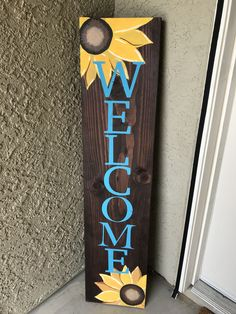 Hand painted leaning welcome sign Wood Crafts Hand leaning Painted Sign Welcome Signs Front Door, Wooden Welcome Signs, Diy Wood Signs, Outdoor Welcome Sign, Painted Wooden Signs, Outdoor Signs, Indoor Outdoor, Wooden Crafts, Wooden Diy