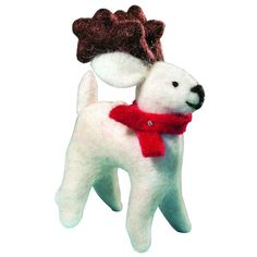 Felt Caribou Ornament - Wild Woolies (H) ➤ USD This 5 inch tall holiday ornament is made from natural wool and non-toxic, azo-free dyes. Garden Ornaments, Handmade Ornaments, Felt Ornaments, Holiday Ornaments, Holiday Decor, Old World Christmas, Kids Christmas, Holiday Crafts For Kids, Felt Birds