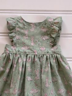 0f4640296c9e Bunny Pinafore Dress, Baby Girl Dress, Girl Summer Dress, Little Girl Dress,  Twirl Dress, Boho Dress, Green Dress, Bunny Dress, 3-6 mos