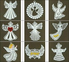 "Free Standing Lace ""Angels"" These free standing lace Angels are ready to grace you latest projects with an entire, Heavenly Host, perfect for the Christmas Season! Wonderful for inserting into cards, or anyplace an Angel is needed!   #FSLAngel #freestandinglaceembroidery"