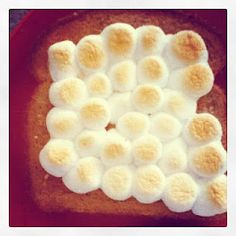 Peanut Butter Clouds--Toast, Peanut Butter, Marshmallows, Under Broiler.  Mmmm..marshmallows get slightly crisp on top, then gooey stringy.  Peanut butter gets all melty.  Your kids will love watching the clouds poof up under the broiler.  Great afternoon snack.