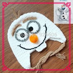 olaf crochet hat pattern | 5PCS Handmade Crochet Frozen Olaf Hat Children's Knitted Caps Newborn ...