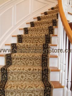 love this carpet runner. It will match the black of the railing and have the gold with light colored wood steps