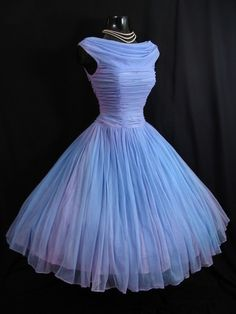 Vintage 1950's 50s Blue Lilac Ruched Chiffon Organza Party Prom Wedding Dress