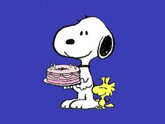 Happy Birthday', Snoopy and Woodstock.