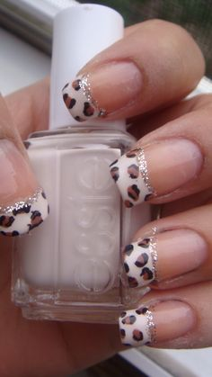 Leopard print French Tips using Essie's We Can Do It Pink!