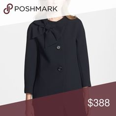Kate Spade Dorothy Bow Neck Jacket Black jacket from Kate Spade with bow at neck detail. Size medium. Fits TTS. 100% polyester fabric with hot pink lining. Bracelet sleeves, front buttons and front pockets. Worn a few times, in excellent condition. kate spade Jackets & Coats