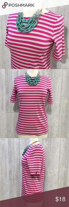"LOFT Striped Tee LOFT Striped Tee, Hot Pink & Light Grey, Partial Zip-Up Back, 100% Cotton (heavier, thicker cotton), From Shoulder to Bottom Hem Measures 26"", Armpit to Armpit Measures 17"" Across, Great Dressed Up or Down, Excellent Condition LOFT Tops Tees - Short Sleeve"