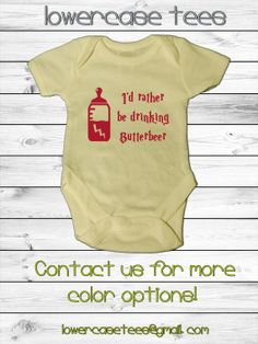 Baby Harry Potter Inspired Onesies 5 sizes I'd Rather Be Drinking Butterbeer by lowercasetees, $19.00