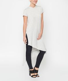 Corner Clothing Heather Gray Asymmetric T-Shirt Tunic | zulily