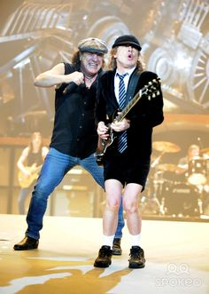 Brian Johnson, Angus Young AC/DC performing live at the O2 Arena