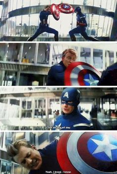 And here we can see captain America sick of himself ( welcome to the club bro ) - Marvel Universe Hq Marvel, Disney Marvel, Marvel Dc Comics, Marvel Heroes, Marvel Tumblr, Funny Marvel Memes, Dc Memes, Marvel Jokes, Marvel Universe