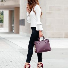 If you haven't added burgundy accessories to your wardrobe yet, do it NOW. A deep red is not only my go to color for wine, but also for Fall! I got both my bag & pumps @Nordstrom. My heels are super comfortable + come in a few colors & I love how much this bag holds.  You have to see the sunnies I'm wearing! They are my new fav pair- @Burberry killed it on them. Shop this look using the @liketoknow.itapp or click the link in my bio & go to Shop: My In