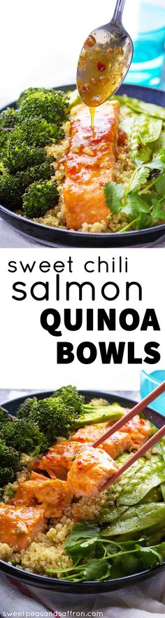 30 Minute Sweet Chili Salmon & Broccoli Quinoa Bowls.  A simple and healthy dinner recipe!