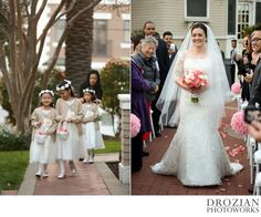These flower girls were too cute! And the bride looks beautiful in her 3/4 sleeve wedding dress! #WinterWedding #Vizcaya #Sacramento #Drozian #Photoworks