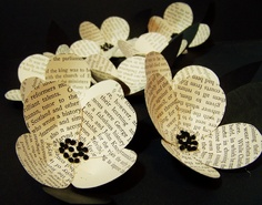 10 Vintage Book Page Flowers-Boutonniere Idea -Paper -Eco Friendly Wedding Decoration -Black and White Wedding -DIY Wedding Accessory. $110.00, via Etsy.