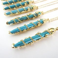 Gold dipped turquoise pendent necklace. Boho by EmilyEJewelry