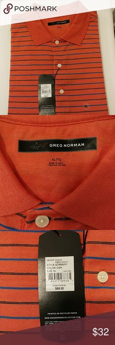 NWT Greg Norman polo shirt Cotton 100 % , orange, blue and black colors Greg Norman Shirts Polos