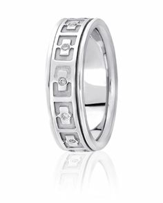 Modern Rectangular Design Accentuated By Flush Set Diamonds Brings Brilliance And Originality To This Wedding Ring