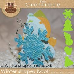 Winter Shapes album    This winter shapes album by Becky's Craftique is a great alternative to traditional square or recangular scrapbooks. Each shape is a blank canvass for your photos or journaling. With each album you have the ability to create a one of a kind creation.  Each shape has two small holes for joining your scrapbook pages together.    *******If you do not have a Cricut or a cutting machine there is no need to worry, a jpg cutting template comes with  your purchase.*******