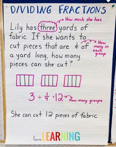Do you teach your students how to divide fractions? This Anchor Chart is a great resource to use when teaching a whole number divided by a unit fraction using a model. Students understand this concept much better when they see a word problem connected to it.