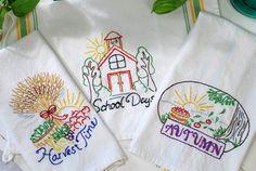 Kitchen Towel Set, Crochet Trim, Hanging Towels, Pot Holder, Dish Cloth Blue
