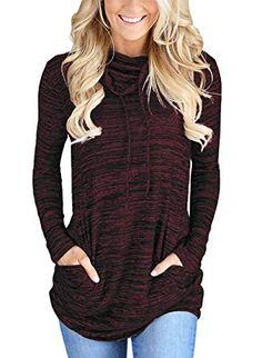 caadd3b5f33cf Women Cowl Neck Casual Long Sleeve Sweatshirt Tunic Tops With Pocket - Wine  - Clothing
