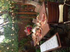 Mom's backyard, my favorite place for dinner!  --> Our homemade cedar table for intimate dining