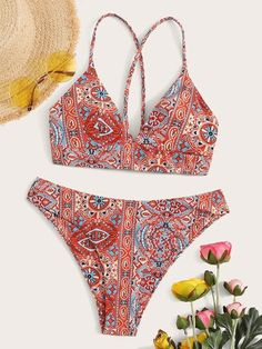 To find out about the Tribal Print Lace-up Top With High Cut Bikini at SHEIN, part of our latest Bikini Sets ready to shop online today! Bikini Swimwear, Bikini Set, Bikini Tops, Romwe, Bikini Ready, Moda Casual, High Cut Bikini, Cute Swimsuits, Beachwear For Women
