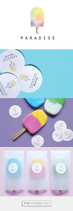 Paradise Branding on Behance (Watercolor Business Card Brand Identity) Ice Cream Packaging, Cool Packaging, Food Packaging Design, Packaging Design Inspiration, Brand Packaging, Graphic Design Inspiration, Graphisches Design, Design Logo, Brand Identity Design