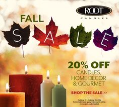 Our fabulous Fall Sale starts today!!! Save 20% off in stores and online at www.rootcandles.com!!