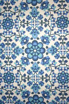 Original retro wallpaper  vinyl wallcovering from the sixties  seventies / blue flowers